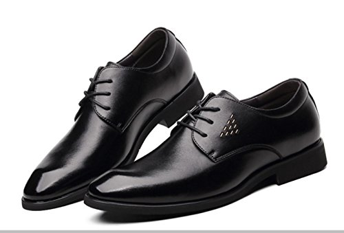 WZG robe d'affaires chaussures pour hommes hommes noirs souligné chaussures en cuir en cuir de vachette dentelle chaussures respirantes Black