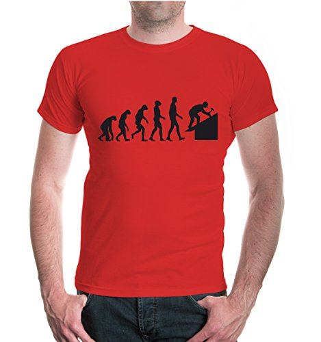 buXsbaum® T-Shirt The Evolution of Roofer Red-Black