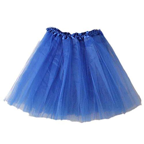 amen Qualitäts Falten Gaze Kurzer Rock Erwachsen Tutu Minirock Petticoat Tanzkleid Ballettrock Pettiskirt Unterrock Multi-Schichten Tüllrock Sommerkleid (Blau, F) (Blaue Kostüme Ideen)