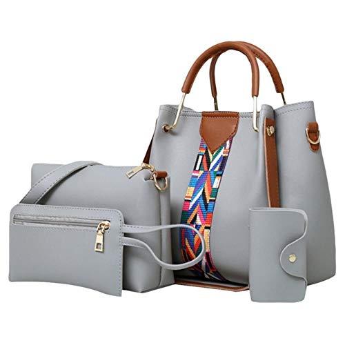Für Damen Handtasche Mode Umhängetasche Dame Pu-leder Beiläufige Weibliche armbänder sac ein haupt Set 4 Stücke, Grau ()