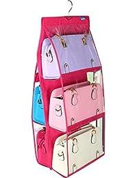 MOHAK 6 Pocket Large Clear Purse Handbag Hanging Storage Organizer Hanging Purse Organizer Hanging Bag