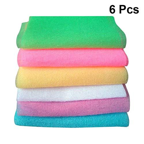 Lotion Scrub Waschen (SUPVOX 6 stücke Bad Waschen Handtuch Peeling Badetuch Dusche Waschen Handtuch Zurück Wäscher Luffa Handtuch für Körper (Mischmuster))