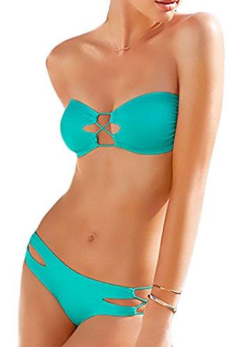Durchbrochene Bandeau-bikini Türkis