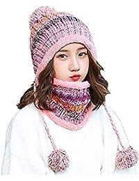 Aisaving Sombrero y Bufanda Mujer Invierno Conjunto de Bufanda de Punto  Girls Beanie Hat Caliente Gorras 7372a1ead11