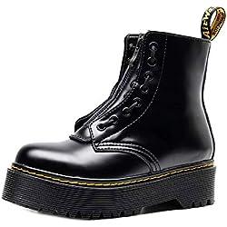 Botas de Plataforma para Mujer Botas de Cuero Confort con Cordones Punk con Cierre de Cremallera para Trabajo Escolar Street Snap 38 EU Black
