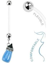 BodyJewelryOnline Women's Flexible Baby Bottle Maternity Navel Ring-Blue