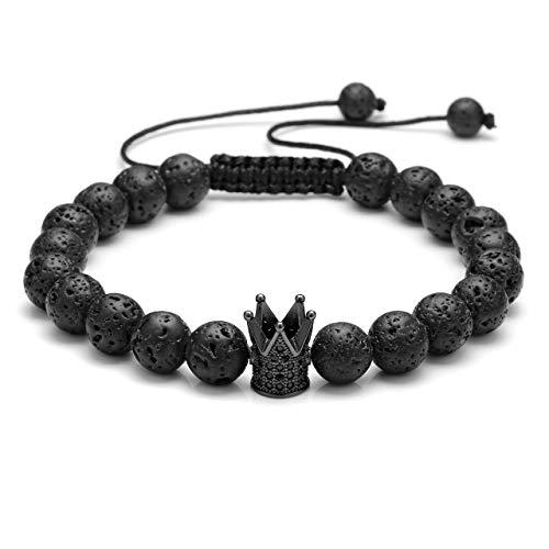 CrystalTears 8mm Rock Lavasteine partnerarmbänder Paar Armband mit CZ Kronen König und Königin Geflochten Frauen Männer (Herren König Krone)