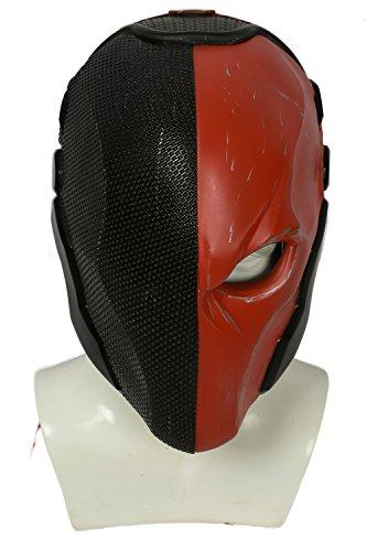 Helm Kostüm Red - Xcoser Halloween Helm Spiel Arkham Cosplay Kostüm Harz Maske für Herren Kleidung Merchandise Zubehör (Black Red)