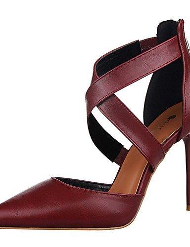 WSS 2016 Chaussures Femme-Extérieure / Habillé-Noir / Rose / Rouge / Blanc / Gris / Bordeaux-Talon Aiguille-Talons-Talons-PU red-us6 / eu36 / uk4 / cn36