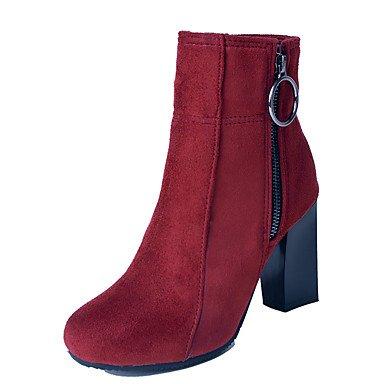 RTRY Chaussures pour femmes en simili cuir Nubuck Bottes Mode Automne Hiver Bottes Bottines Chaussures de Combat Talon bout rond bottes / Boots Red US7.5 / EU38 / UK5.5 / CN38