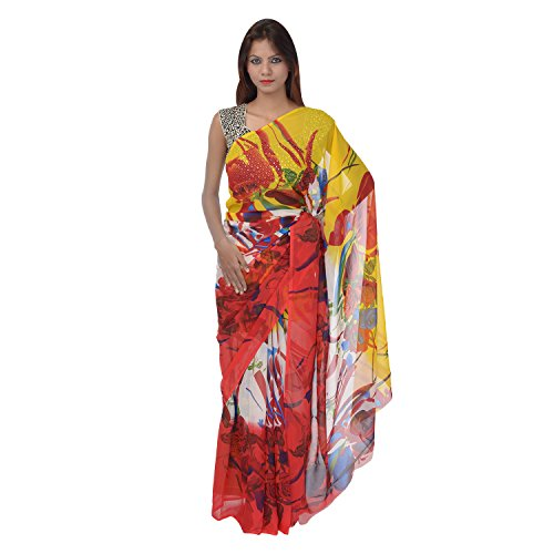 Saundarya Sarees Women Chiffon Printed Red and Yellow Saree
