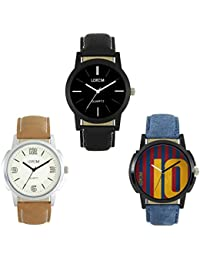 Give And Tack New Designer & Stylish Leather Belt Combo Analogue Watch For Men & Boy's (pack Of 3)