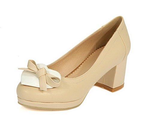 VogueZone009 Damen Mittler Absatz Rund Zehe Gemischte Farbe Ziehen Auf Pumps Schuhe Cremefarben
