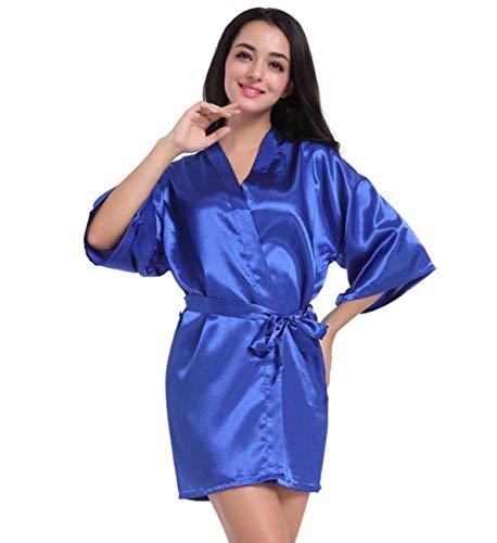 GL SUIT Las Mujeres de la Bata de satén Color sólido Traje del Kimono Primavera y el Verano Albornoz...