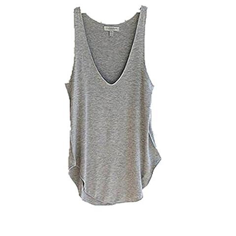zahuihuiM, Fashion Summer Woman Lady Sans manches V-Neck Candy Vest Loose Débardeurs T-shirt (Gris)