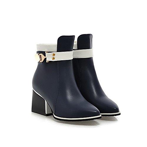 AllhqFashion Damen Weiches Material Spitz Zehe Gemischte Farbe Mittler Absatz Stiefel Blau