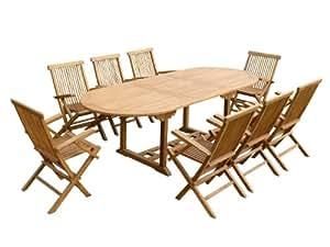 Teck'Line - Salon de jardin en teck HONEYBERRY 8 fauteuils pliants