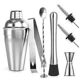 Cocktail Shaker Set, Samione 7 Pezzi Kit da Barman in Acciaio Inox, Professionale 550ml Shaker con Accessori: Misurino…
