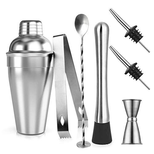 Samione Cocktail Shaker Set, Professioneller Edelstahl Bar Cocktailset: Cocktail Shaker mit Sieb 550ml + Messbecher + Ausgießer + Bar Stößel + Barlöffel + Eiszange + Cocktailrezepte