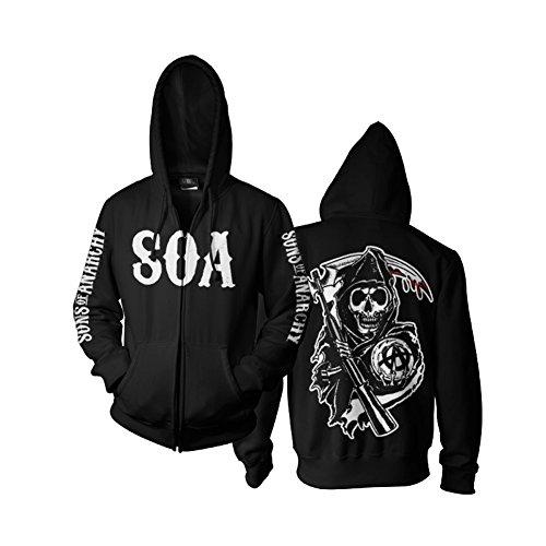 SOA Reaper Zipped Hoodie (Black), Medium