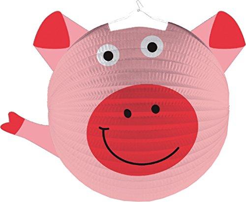 Amscan Lampion * SÜSSES SCHWEIN * als Deko oder Spiel für Kindergeburtstag, Halloween oder Karneval // Mottoparty Motto Party Laterne Farm Bauerhof Tiere