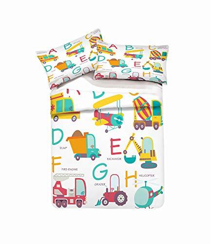 REALIN Bettbezüge Set Aufbau Bettwäsche Fahrzeug Transportieren Bagger Werkzeug Bett Sets 2/3/4Teilig Bettbezüge/Kissenbezüge/Bettlaken Für Kinder,Jungen,Mädchen (Kissenbezüge-2PCS,B) -