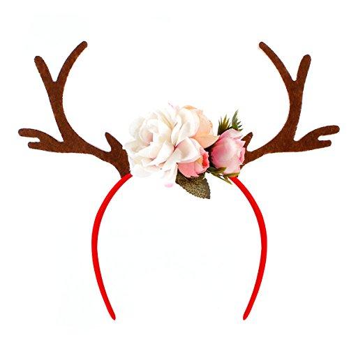 OULII Bandeau de corne de fauve de Noël Bandeau de corne de cerf de daim avec fleurs Accessoire de fête de vacances (blanc)