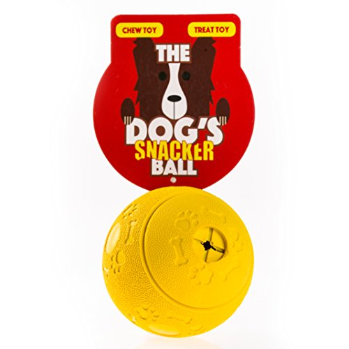 The Dogs Balls The Dogs Snacker Ball, Yellow Premium Dog Treat Ball, Tough, Large 8cm Activity Rubber Chew Toy, Fill With Your Dog or Puppys Favourite Snack or Treat, Use as a Dog Chew or Dog Ball For Fetch, Ideal B