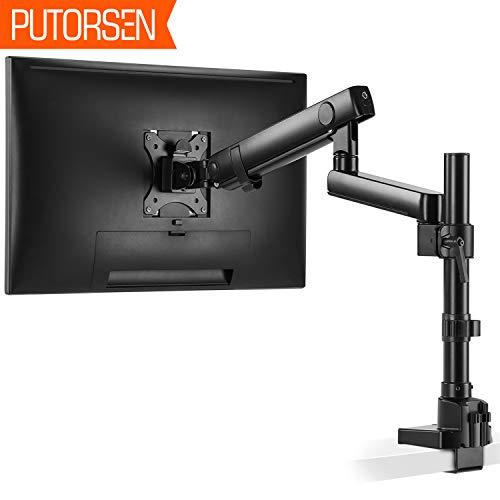 PUTORSEN Monitor Tischhalterung - Premium Aluminium Ergonomische Schwenkbare Neigbare Höhenverstellbar Einarm Monitorhalterung für 17'-32' LED LCD Bildschirme - VESA 75x75-100x100 mm Wiegt 8kg