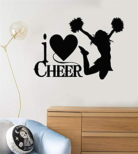 wandaufkleber 3d blumen Ich liebe Beifall Cheerleader Silhouette Zitat Sport Fan Cheerleading