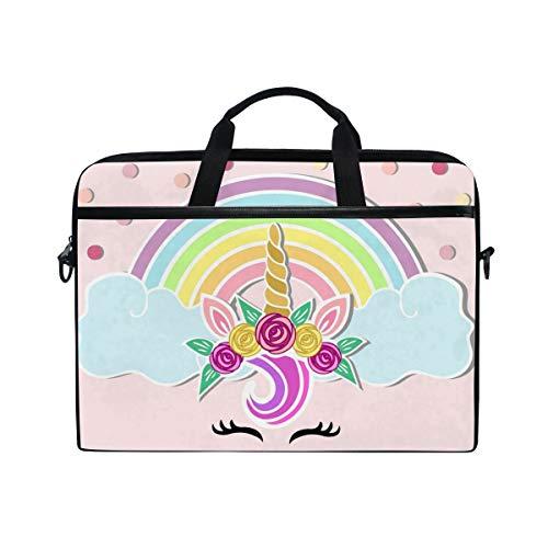 Ahomy Einhorn Horn Tiara Regenbogen Multifunktions Stoff Wasserdicht Laptop Tasche Aktentasche Schultertasche Messenger Bag