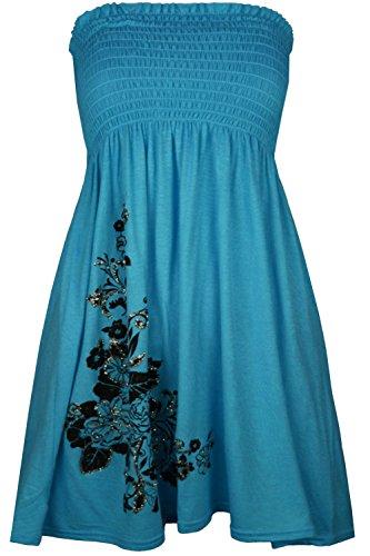 Pour femme Motif Roses à Paillettes strass Sheering-Clothings Robe bustier à bascule haut Turquoise - Turquoise