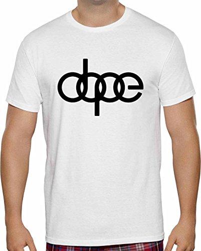 Herren T-Shirt Dope Audi Logo Kurzarm ( Weiss , 2XL ) (Glow Kurzarm-t-shirt)
