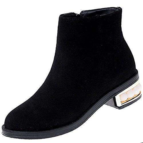 HSXZ Scarpe donna pu inverno Comfort stivali tacco piatto punta tonda per Nero Casual Black