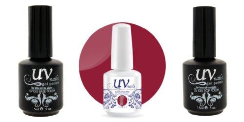 UV-Nails Vernis a Ongles Soak-Off Gel 15ml Moody Chick #199 + Base & Top Coat 15ml + Aviva Polissoir a ongles