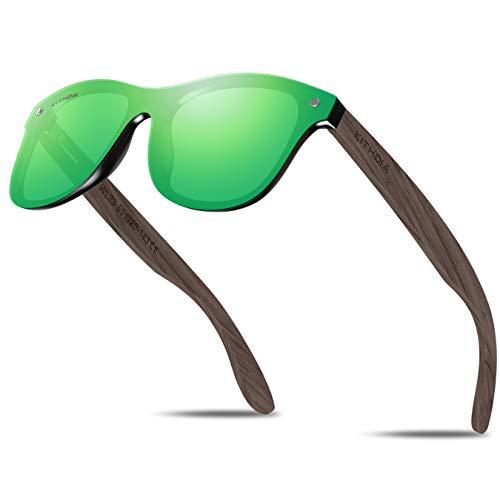 KITHDIA Herren Damen Natürlich Holz Polarisierte Sonnenbrille Verspiegelt Linse WL23 -