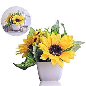 Girasol Artificial en maceta, Flor artificial ventana estantería Artificial girasol pequeños ornamentos flor en seda…