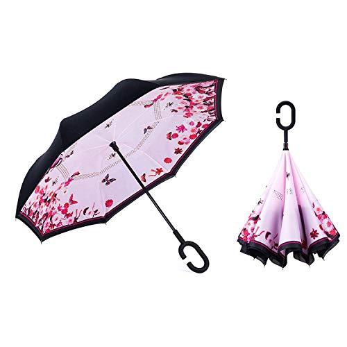 Sumeber Double Layer Reverse Regenschirm mit C Griff Schützen vor Sturm Wind Regen und UV-Strahlung Innovativer Regenschirm