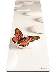 Nirvana Yoga–Beautiful funda colchonetas de Yoga, caucho natural, alta calidad, respetuoso con el medio ambiente, antideslizante toalla de Yoga Mat alfombrilla de Combi–mejor para Bikram Yoga caliente, Butterfly Zen