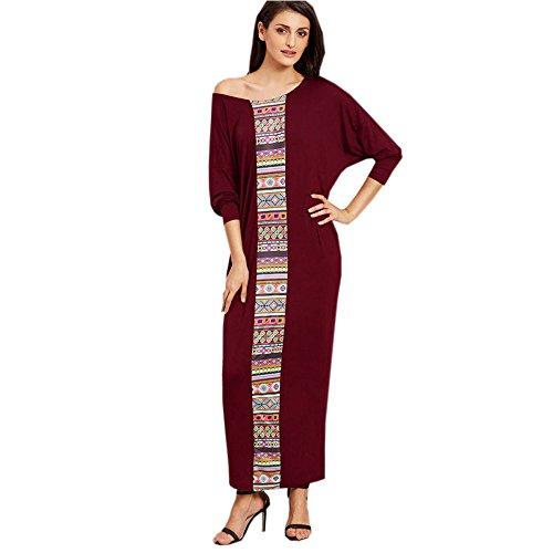 Muslimische Damen Batwing Langarm Kleid Boho Stil Patchwork Robe Kaftan Abendkleid Tunika Mittlerer Osten Lose Maxikleid Casual Gewand Abaya Dubai Islamische Frauen Kleidung (Wein, 2XL)