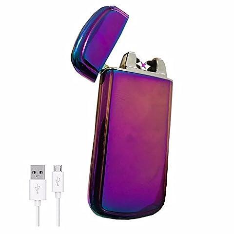 Briquet électrique SHAKE à Double Arc - The Flame - Recharge Rapide, Anti-vent, Sans Combustion, Résistant et sûr, dans un Boîtier élégant (Violet)