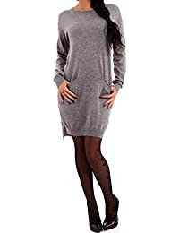 Damen Pullover Strickkleid Vokuhila Oversized Look