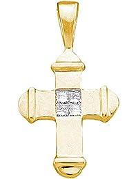 f869531b5fb1 Jewels by Lux - Colgante de cruz de diamante de princesa de oro amarillo de  10