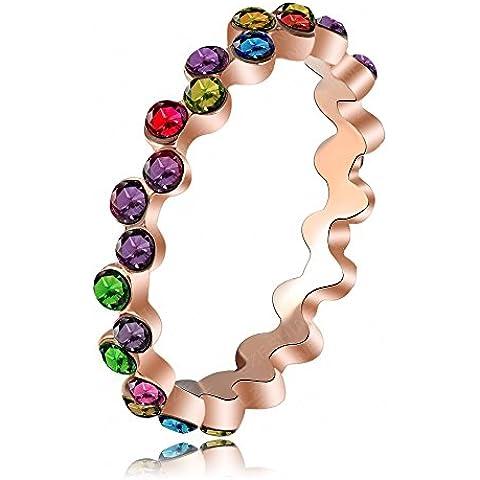 Bling fashion arcobaleno anello placcato in oro rosa 18K SWA elementi Austria cristallo anelli di nozze per donna ri-hq1091-a - Star Ruby Set Di Nozze