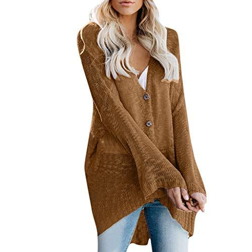 serliyStrickjacke Damen Langarm Feinstrick Kimono Strickcardigan Outwear Mantel Pure Color Flare Sleeve Button Pullover Easy Thin Cardigan Vertuschen Women Coat -