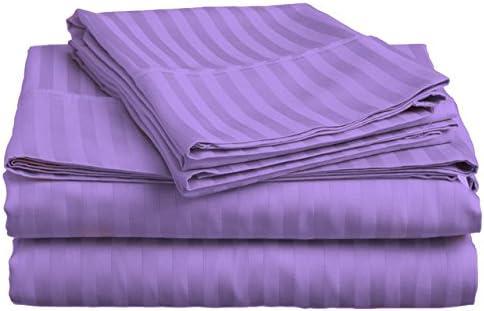 Dreamz Bedding Italian Finish 350 Thread di Count Lenzuola di Thread Cotone Egiziano Pezzi ( 76,2 cm) Extra Deep Pocket UK Super King, Lavanda Lilla a Righe 2bbb3b