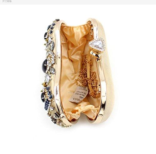 Strawberryer Europe Et Les Etats-Unis Diamants Soirée Cake Forfait Luxe Haut De Gamme Hand-beaded Sac Nuptiale Banquet Décoration Wallet gold