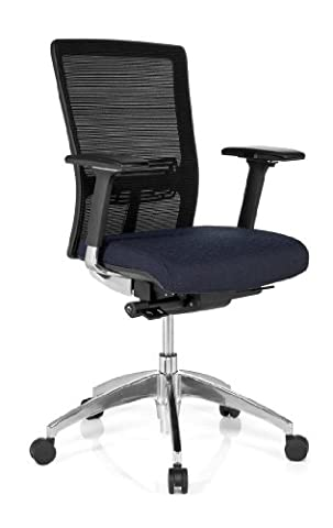 hjh OFFICE, 657512, Professional office chair, swivel chair, executive chair, ASTRA BASE, darkblue, fabric, mesh, High end chair with ergonomic shaped mesh backrest and adjustable headrest, thick padded and wide contoured seat, adjustable armrests, adjustable seat