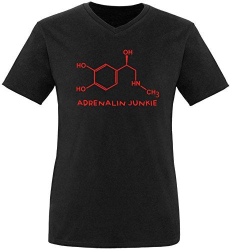 EZYshirt® Adrenalin Junkie Herren V-Neck T-Shirt Schwarz/Rot