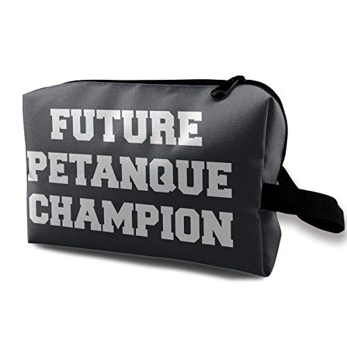 Cosmetic Bag Funniest Entre La Petanque Et Le Pastis Waterproof Travel Bag with Zipper, Roomy Cosmetic Bag